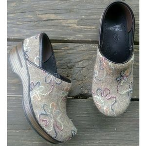 Dansko Multicolored Floral Felt clogs Size 37